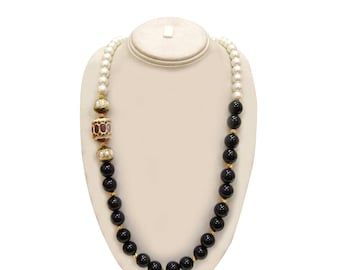 Lovely 925 Sterling Silver Gold Plated Black Onyx & Pearl Beaded Hand Crafted Necklace For Gift