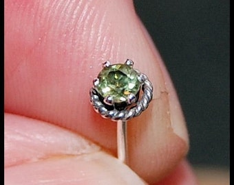 Peridot Nose Stud - Roped with Sterling - CUSTOMIZE