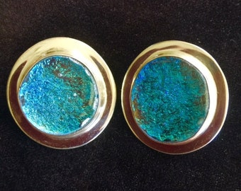 Dichroic Glass and Sterling Silver Earrings