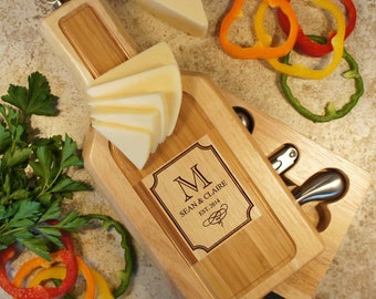 """Personalized Wine & Cheese Board Tool Set with Couple's Monogram Design Options and Font Selection (Each - 13"""" x 6"""")"""