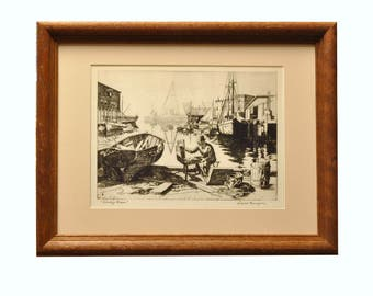 "Lionel Barrymore ""Purdy's Basin"" Seascape / Waterfront Lithograph - Framed and Ready to Hang - 1950s Home Decor"