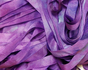 Purple Hand Dyed Silk Ribbon