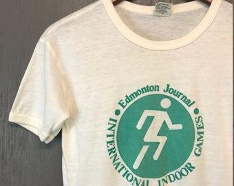 S * vintage 70s 1979 Edmonton Journal indoor games Canada t shirt
