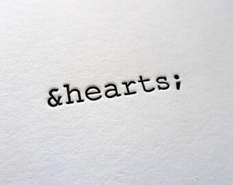 HTML &hearts letterpress greeting card, blank inside
