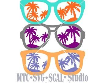 SVG Cut File Sunglass Set #1 bundle of 3 Scrapbooking  MTC SCAL Cricut Silhouette Cutting File