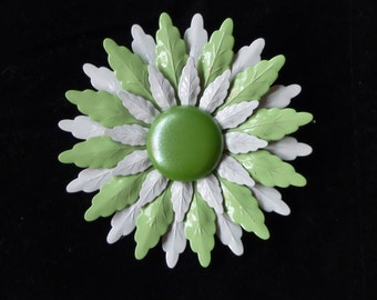 Beautiful vintage 1960 pastel green and white enamel flower brooch