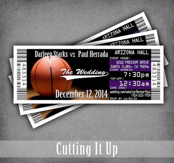 Basketball Wedding Ticket Invitations Sports Theme Invitation
