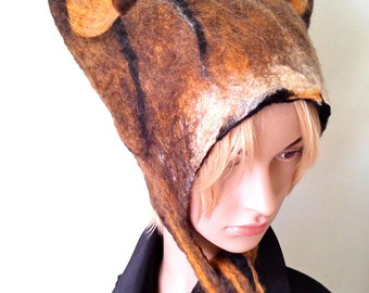Tabby Cat Inspired Animal Hat Hand Felted wool hat for cosplay, anime, festival wear, fancy dress Winter ski hat womens hat mens hat
