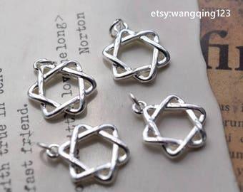 4 pcs sterling silver star of david charm pendant  , G1
