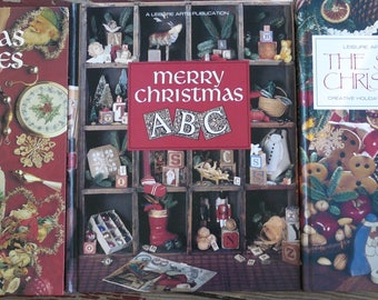 Set of 3 Holiday or Christmas Counted Cross Stitch Pattern Books ~ Hardcover ~ Good Condition ~ Leisure Arts