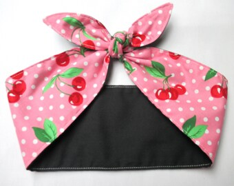 WIDE Headband  CHERRIES Cherry Pinup Vintage Retro Style 50s Rockabilly Head Wrap pink Scarf Bandana