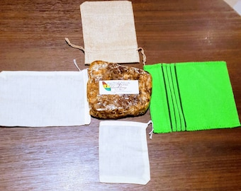 4Play Exfoliating Soap Bag Kit // Natural soap preservation // 4 washcloths // 3 exfoliation levels // mild // moderate // full exfoliation