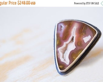 ON SALE Agua Nueva Agate Ring, Sterling Silver Statement Ring, Drusy Ring - Collector Stone - Muse and Reverie - Size 7, Size 7.25