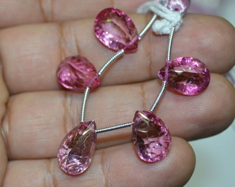 5 pc of Mystic Pink Topaz 9x14 to 10x15 mm concave cut Pear Briolettes (5 pc beads)