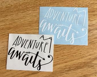 Adventure Awaits Decal   Outdoors Decal   Inspirational Decal