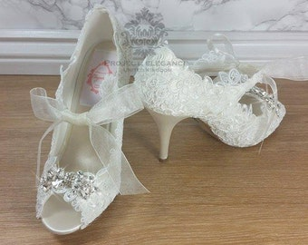 Stunning Ivory satin, Lace and crystal Vintage Peep Toe Shoes - Any height, any colour. Fully customisable