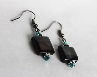 brown cube earrings