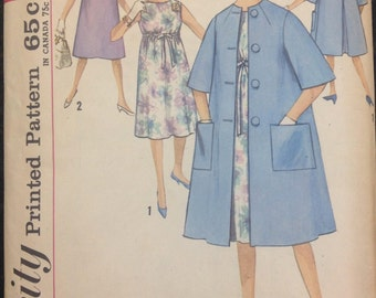 Simplicity 4837 Maternity Dress // Coat Vintage Sewing Pattern (1950s) Misses Size 10