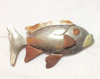 Vintage Metal and Copper Fish Pin