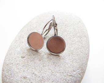 2 medium 12mm silver plate earrings