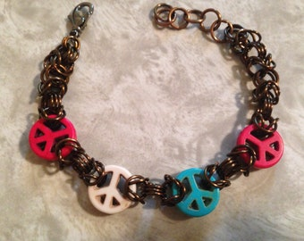 Peace Sign Chainmaille Bracelet, Chainmail Jewelry