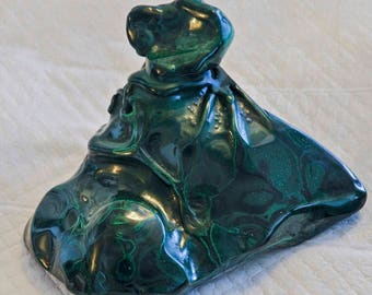 Polished  Malachite Weighs over 2 lbs