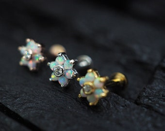 White opal gems flower screw flat back cartilage stud,helix earring,lip ring,medusa piercing,conch earring