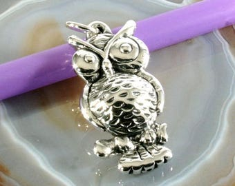 Owl, pendant, 925 sterling silver, electroforming - 4860