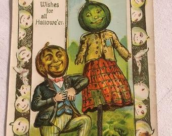 Vintage 1900's Unused Halloween Postcard- Vegetables