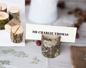 Woodland Rustic Wedding Placecard Holders Table Decor - Sustainable Real Wood Mini Logs - Set of 8