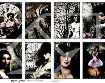 Halloween, Dark Women Digital Collage Print Sheet no129