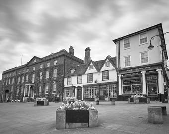 Black and white photograph of the Angel Hotel in Bury St Edmunds