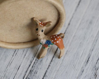 10pcs Little Cute Deer Hand Painted Resin Cabs Flatback Brown Deer Cabochons Deer Pendant Animals Decor 40mm*25mm