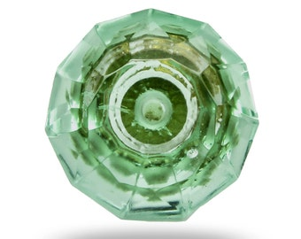Glass Knob Mint Green, Faceted Dresser Drawer Pull, Decorative Knob for a Kitchen Cupboard or Dresser Drawer, Furniture Knob and Hardware