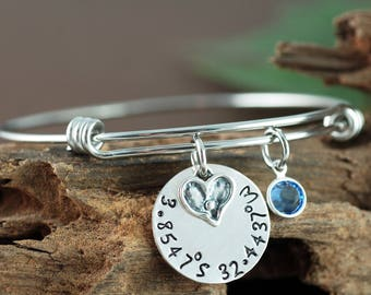 Coordinate Bracelet, Heart Bangle, Personalized Bangle Bracelet, Silver Bangle Charm Bracelet, Birthstone Bangle, Coordinate Jewelry