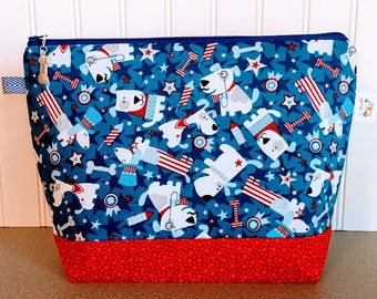 July 4th Knitting Project Bag, Knitting Tote, Knitting Bag, Small Project Bag, Yarn Bowl, Yarn Caddy, Crochet Project Bag, Yarn Bag