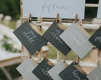 Gold-striped placecards