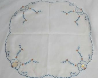 Vintage New Old Stock White Embroidered Womens Handkerchief, Made in Switzerland