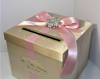 Wedding Card Box Champagne and Blush pink/light pink Gift Card Box Money Box Holder-Customize your color
