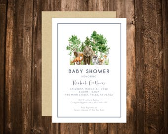 Watercolor Woodland Baby Shower Invitation; Forest Friends; Boy; Dusty Blue; Printable or set of 10