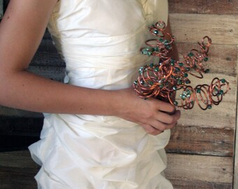 Copper Wire and Sea-Green Crystal Alternative Bridal Bouquet: SALE- DISCONTINUING.