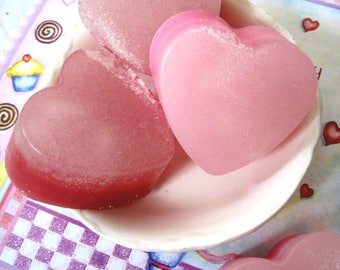 Pink Heart Sugar Scrub.  Fragrance of Black Cherry, scent of ripe cherries. Valentine's Day.