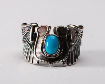 Silver Wing Ring | Angel Wing Ring | Horseshoe Ring | Turquoise Silver Ring | December Ring | Silver Biker Ring | Wrap Ring | Good Luck Ring