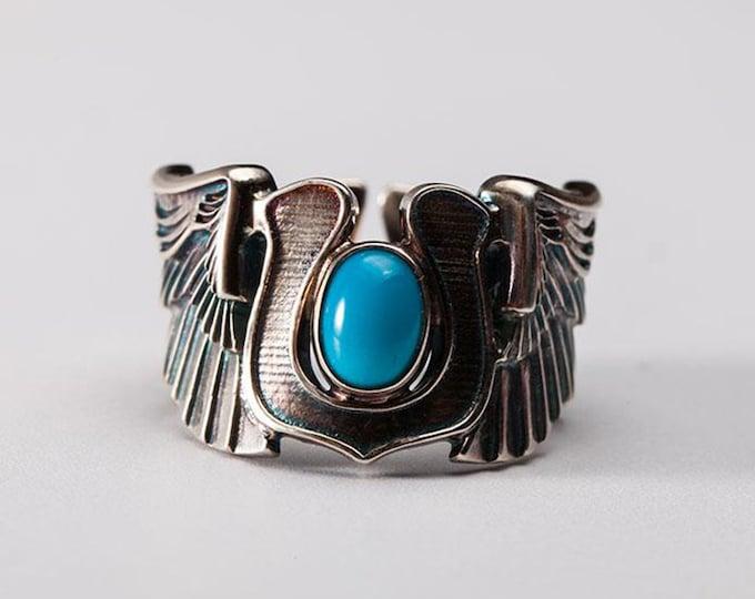 Silver Wing Ring | Angel Wing Ring | Horseshoe Ring | Turquoise Silver Ring | December Ring | Silver Biker Ring | Wrap Ring | Good Luck Ring