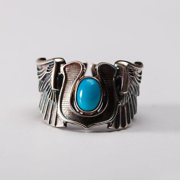 Popular Silver Wing Ring | Angel Wing Ring | Horseshoe Ring | Turquoise  TY21
