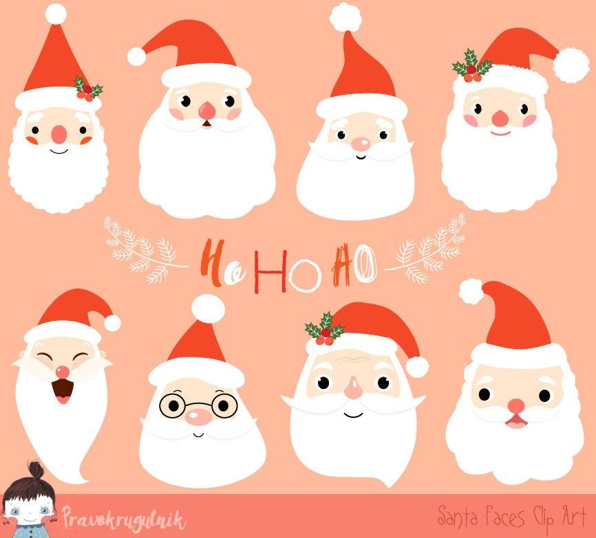 cute santa clipart christmas santa clip art santa face rh etsy com cute santa claus clipart black and white cute santa clipart