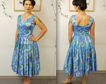1950's/60's Pleated Blue Floral Garden Party Dress / Fit and Flare / Rockabilly / Rare Collectible Retro