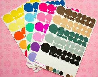 Various Sized Teardrop Stickers for your ECLP, Happy Planner, Filofax or PPP - 98 Stickers (Color Themes)