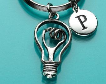 Lightbulb Keychain, Lightbulb Key Ring, Edison Light Bulb, Initial Keychain, Personalized Keychain, Custom Keychain, Charm Keychain, 237