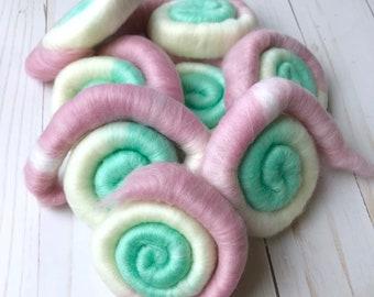 Ice Cream Shoppe Tri-Color Rolags - 2 Oz - Superfine Merino Wool - Faux Cashmere - Handmade